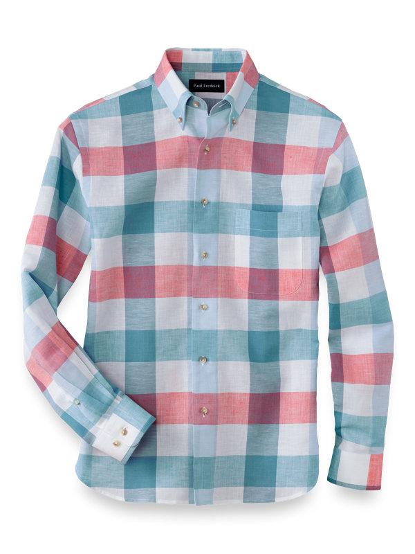 Cotton Linen Buffalo Plaid Casual Shirt