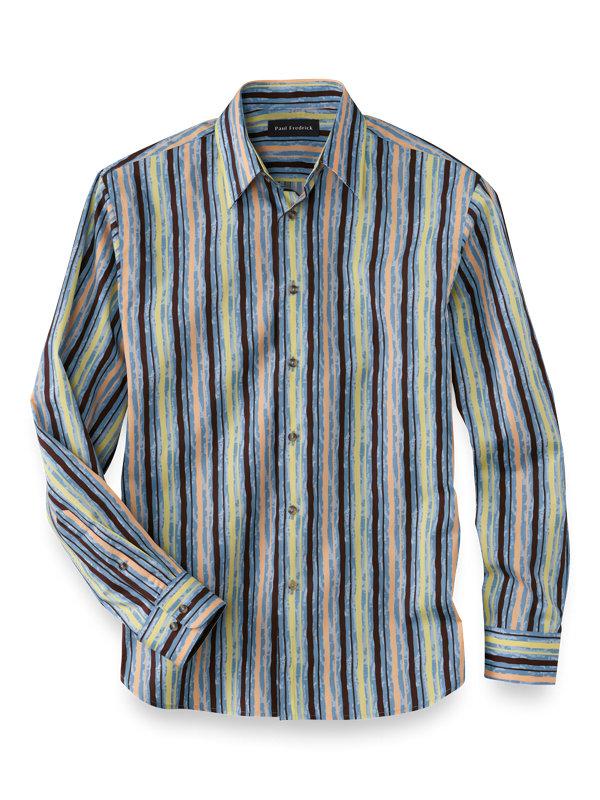 Slim Fit Cotton Batik Print Casual Shirt