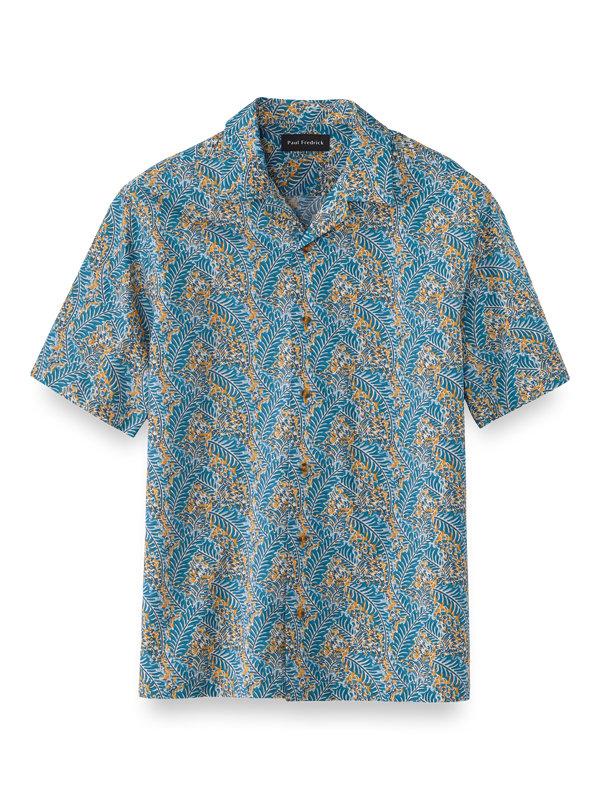 Slim Fit Cotton Tropical Batik Print Casual Shirt
