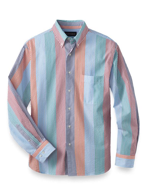 Slim Fit Cotton Seersucker Stripe Casual Shirt