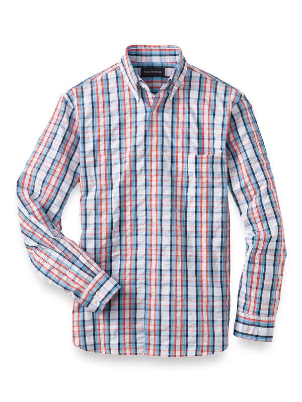 Cotton Seersucker Check Casual Shirt