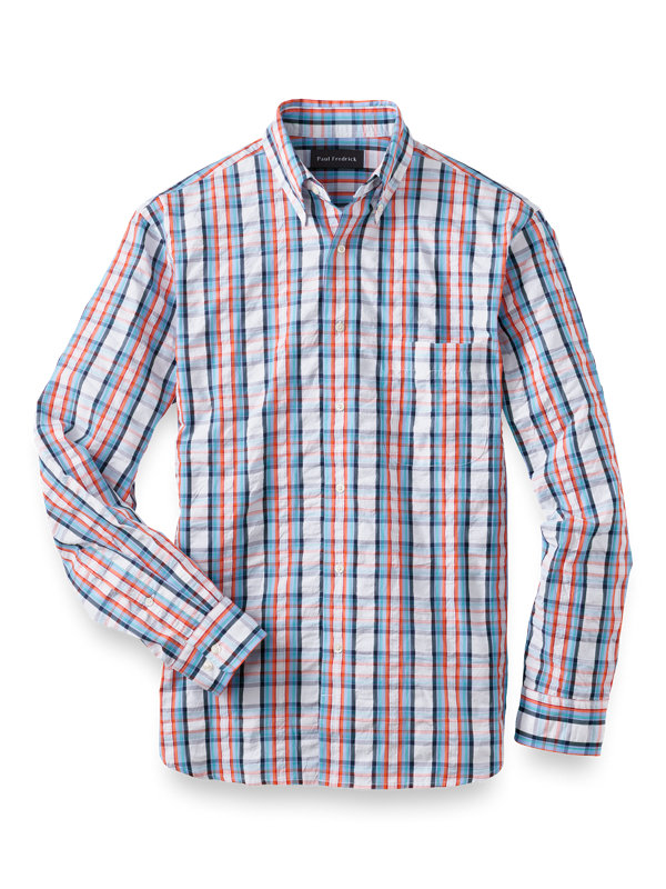 Slim Fit Cotton Seersucker Check Casual Shirt