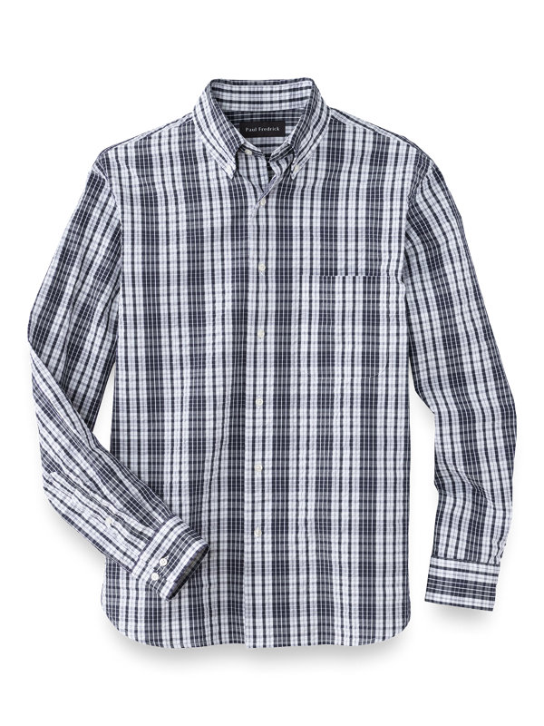 Cotton Seersucker Check Casual Shirt