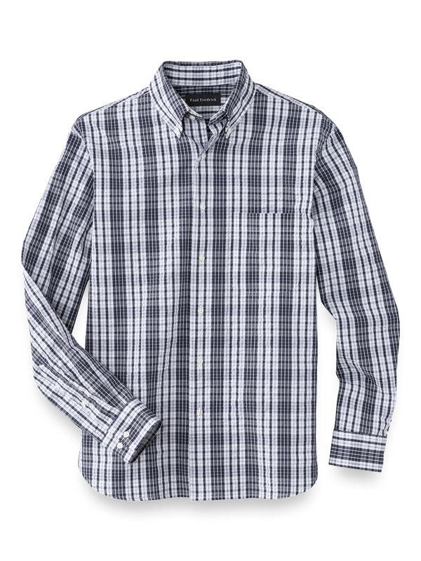 Slim Fit Cotton Seersucker Check Casual Shirt