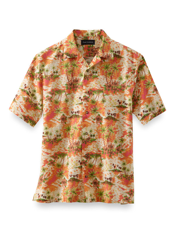 Cotton Tropical Print Casual Shirt