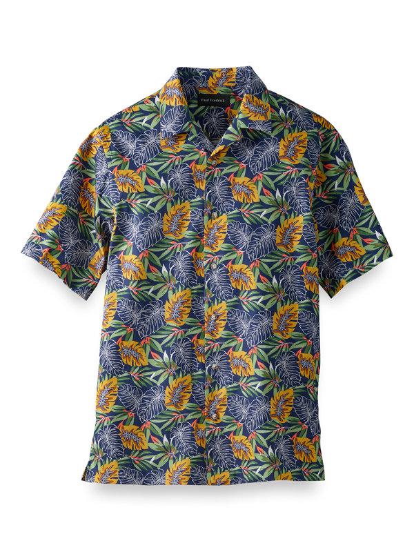 Cotton Tropical Print Casual Shirt