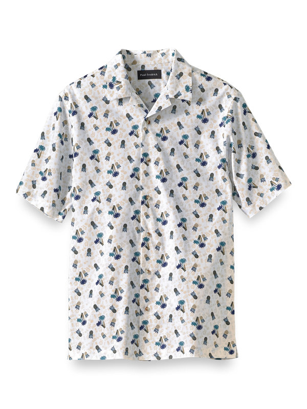 Cotton Pineapple Print Casual Shirt
