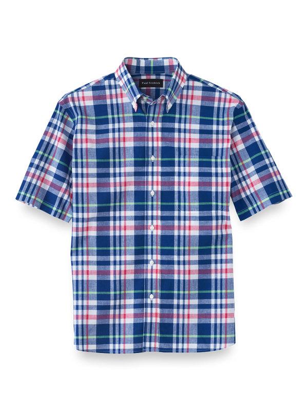 Slim Fit Cotton Linen Plaid Casual Shirt
