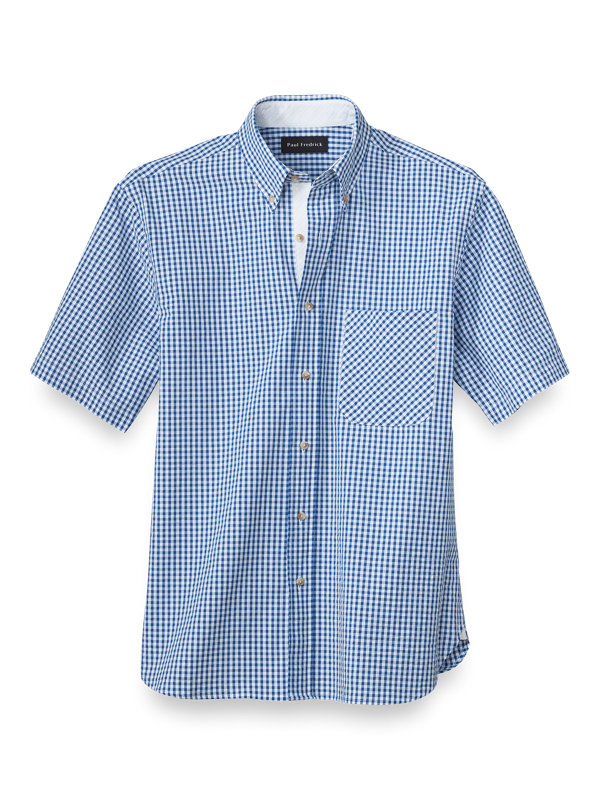 Cotton Seersucker Gingham Casual Shirt
