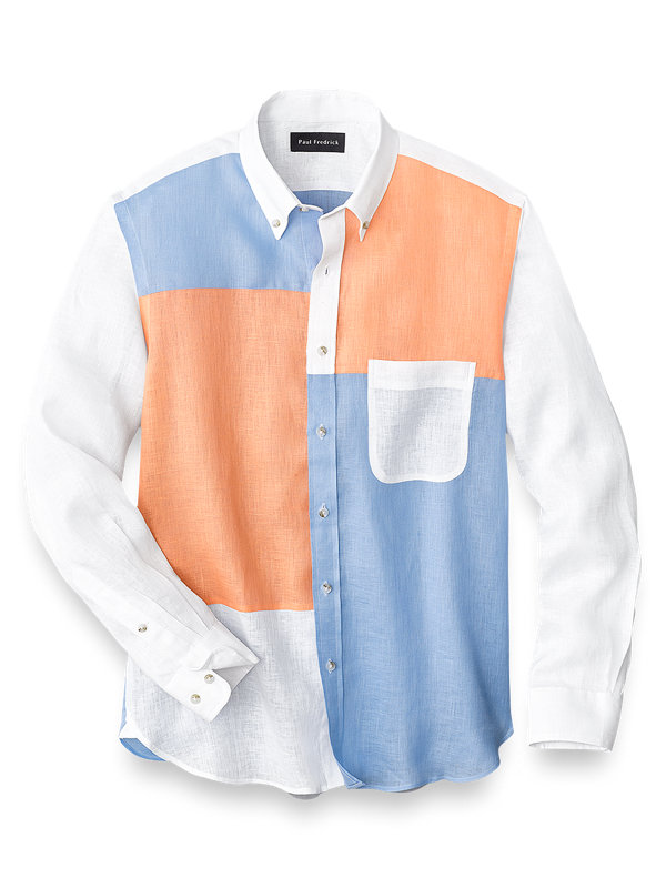 Slim Fit Linen Panel Print Casual Shirt