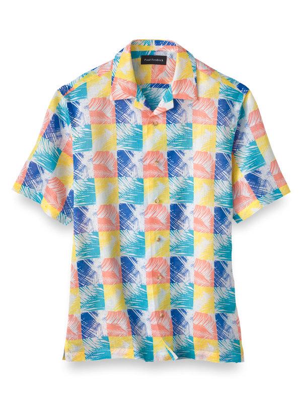 Slim Fit Linen Tropical Print Casual Shirt