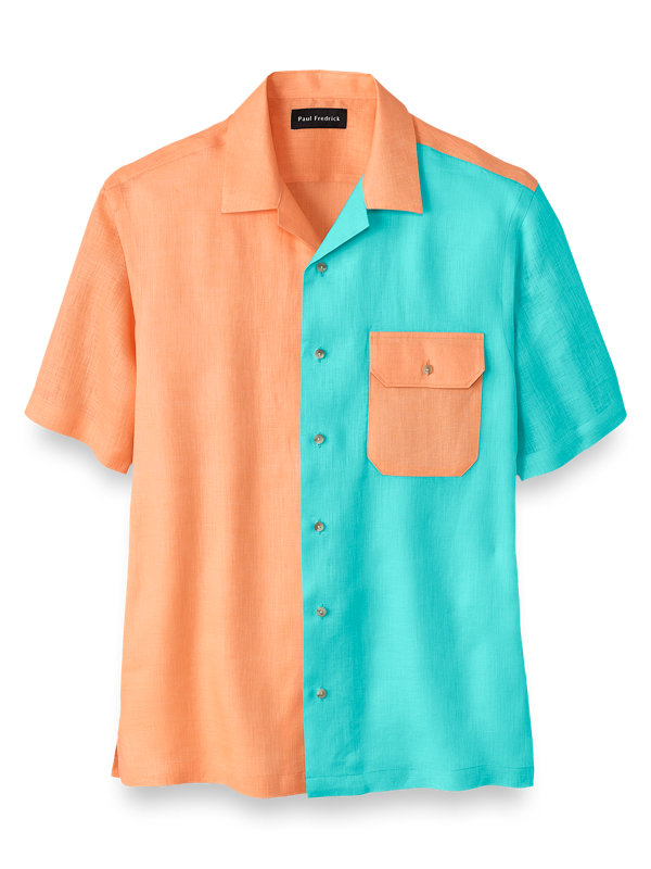 Slim Fit Linen Solid Colorblock Casual Shirt