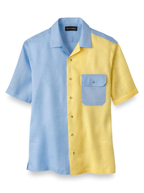 Linen Solid Colorblock Casual Shirt