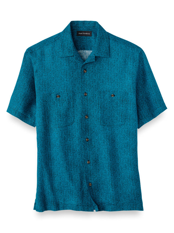 Linen Herringbone Print Casual Shirt
