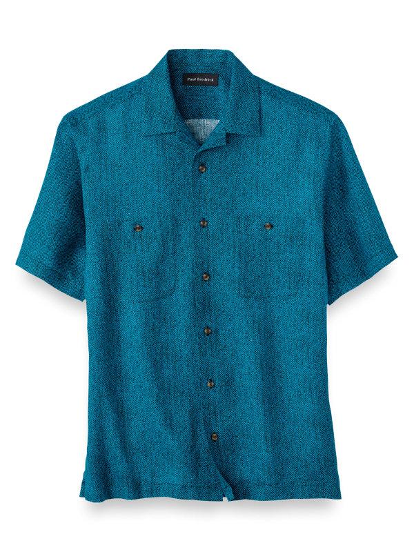 Slim Fit Linen Herringbone Print Casual Shirt