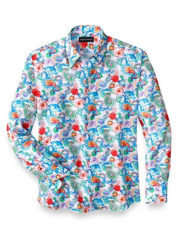 Slim Fit Linen Botanical Print Casual Shirt