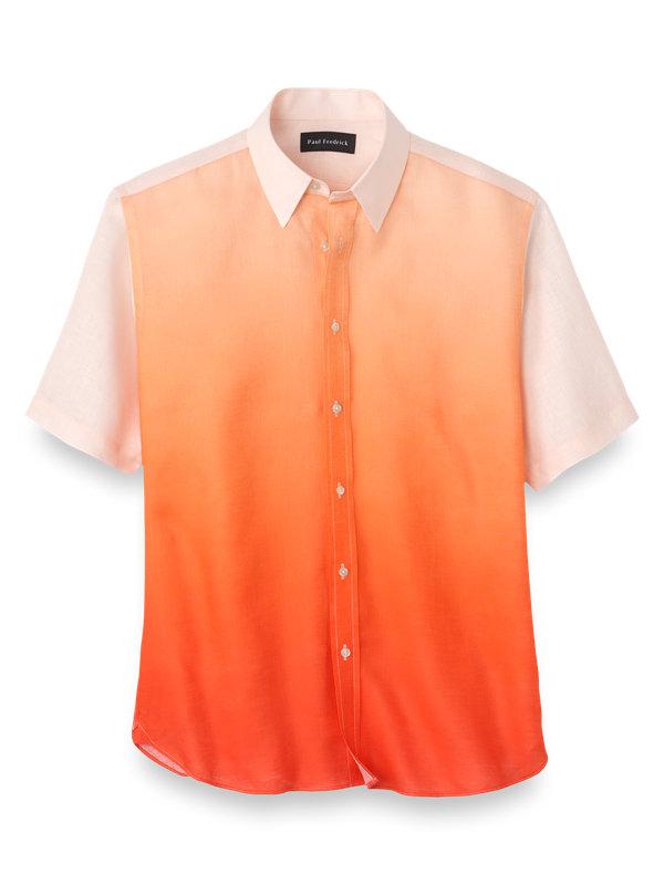 Slim Fit Linen Ombre Casual Shirt