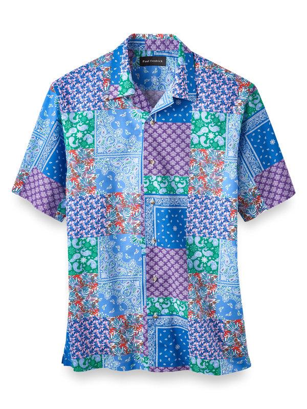 Slim Fit Cotton Patchwork Print Casual Shirt