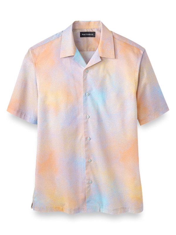 Slim Fit Cotton Ombre Print Casual Shirt
