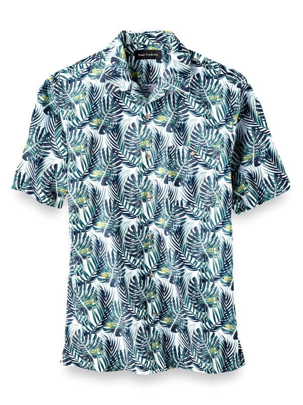 Slim Fit Cotton Tropical Print Casual Shirt