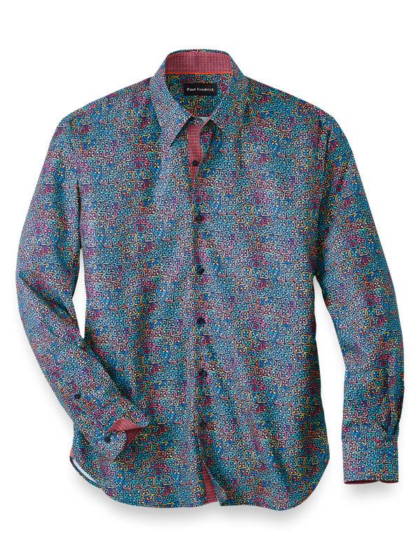 Slim Fit Cotton Blend Deco Print Casual Shirt