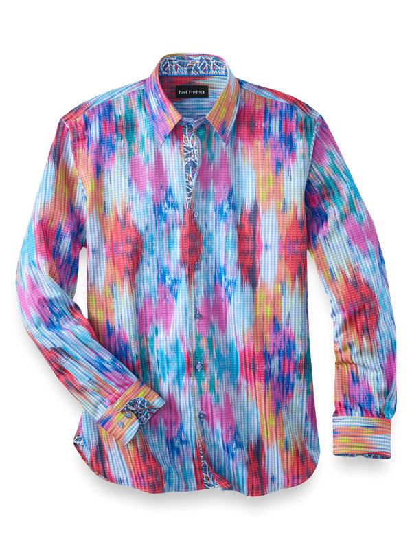 Slim Fit Cotton Blend Stripe Casual Shirt