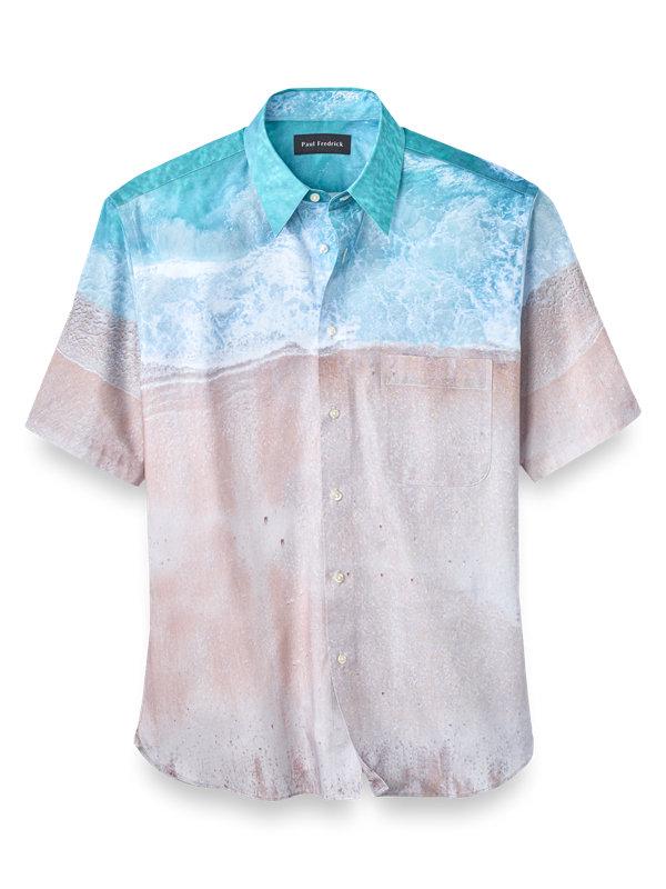 Slim Fit Cotton Beach Print Casual Shirt