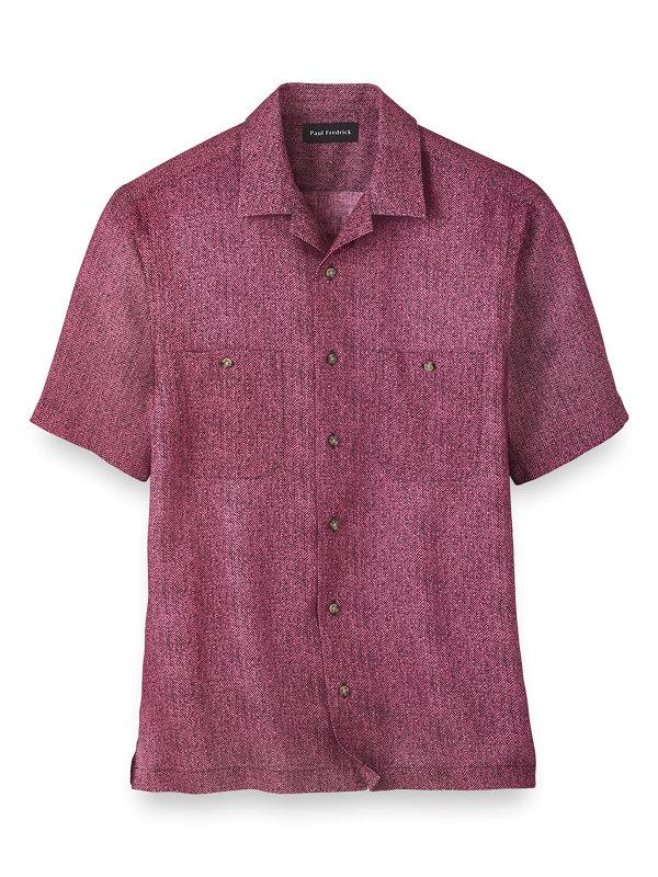 Slim Fit Linen Herringbone Casual Shirt