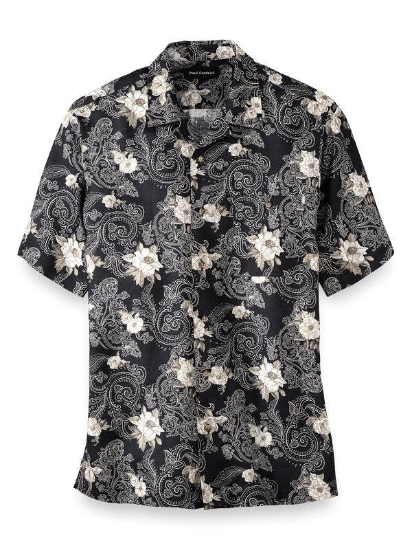 Slim Fit Linen Floral Print Casual Shirt