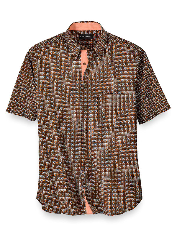 Slim Fit Easy Care Cotton Tile Print Casual Shirt