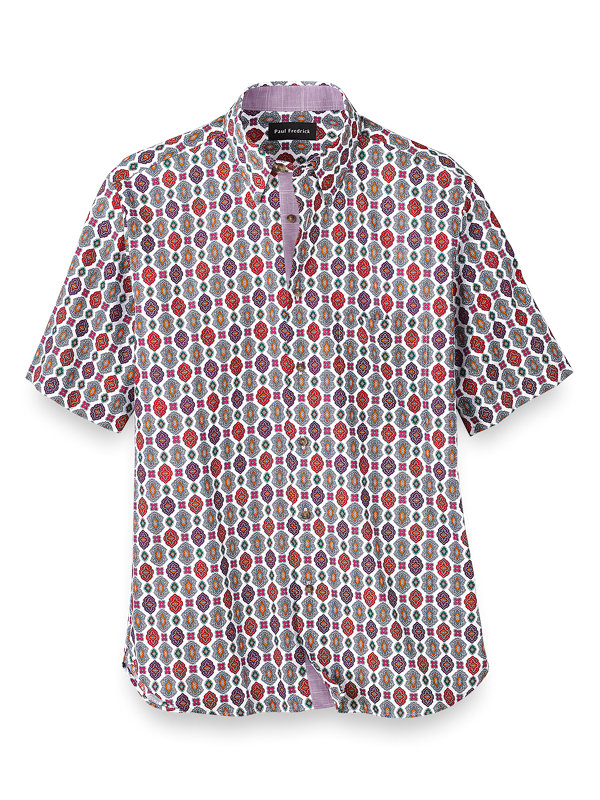 Slim Fit Easy Care Cotton Medallion Casual Shirt