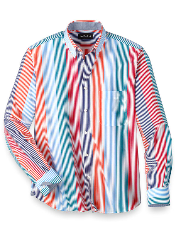 Slim Fit Easy Care Cotton Multi Stripe Casual Shirt