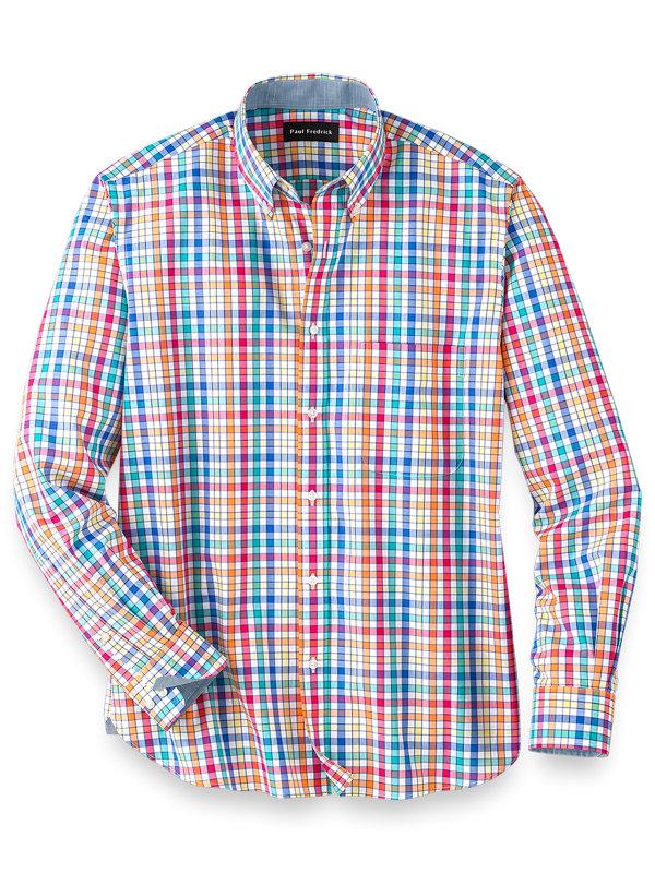 Slim Fit Easy Care Cotton Multi Check Casual Shirt