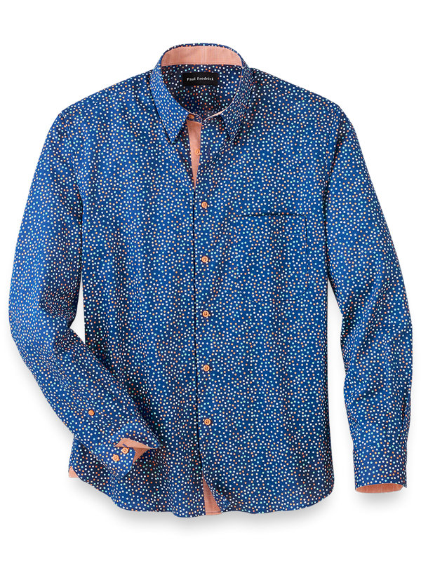 Slim Fit Easy Care Cotton Multi Dot Casual Shirt