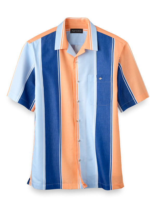 Slim Fit Easy Care Cotton Alternating Stripe Casual Shirt