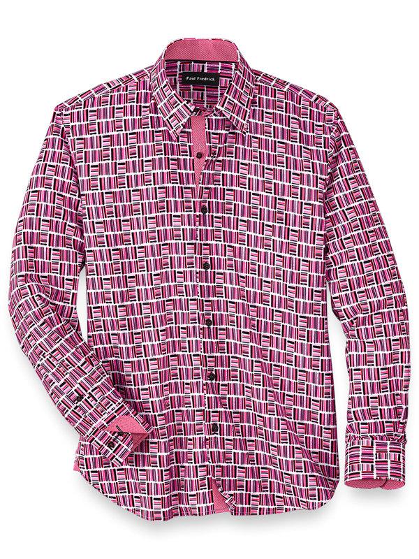 Cotton Blend Geometric Stripe Casual Shirt