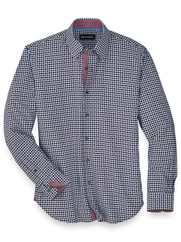 Slim Fit Cotton Blend Dot Casual Shirt