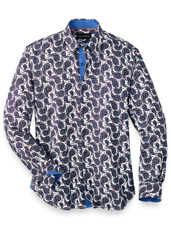Slim Fit Cotton Blend Paisley Casual Shirt
