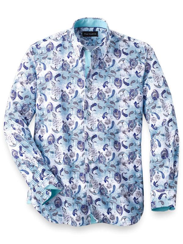 Slim Fit Cotton Blend Floral Casual Shirt