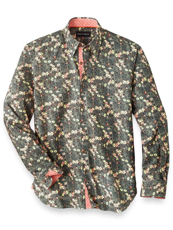 Cotton Blend Floral Casual Shirt