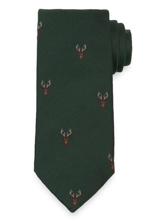 Stag Motif Silk Tie