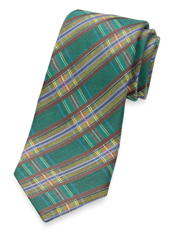 Italian Plaid Silk & Linen Tie