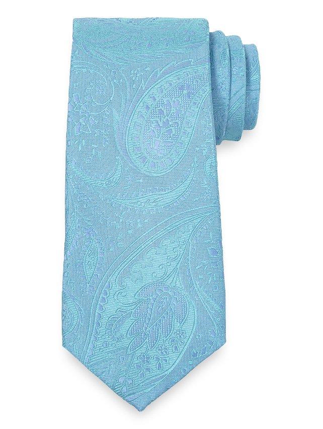 Aqua Paisley Woven Silk Tie
