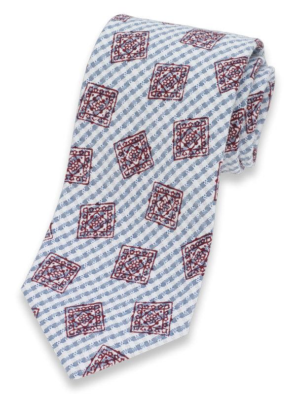 Italian Medallion Seersucker Cotton Tie