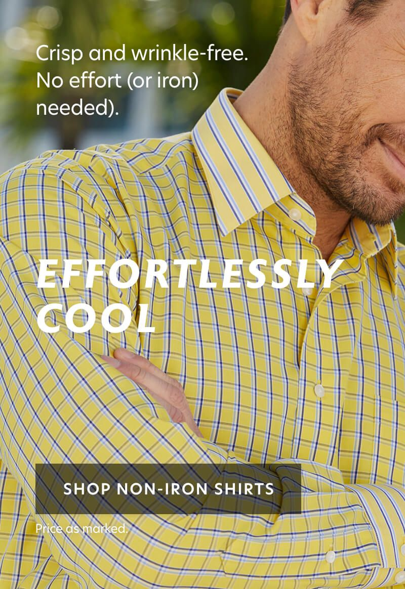Non-Iron Contrast Trim Dress Shirts