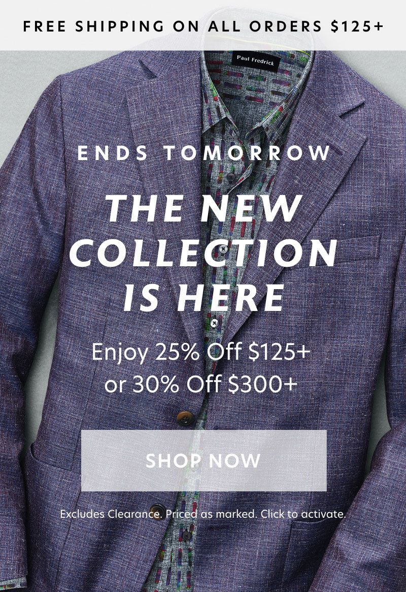 Ends Tomorrow: Tiered Promo 25% off $125 30% off $300