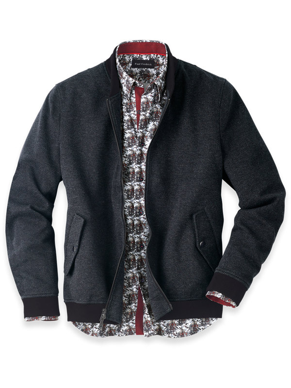 Cotton Blend Herringbone Baseball Jacket