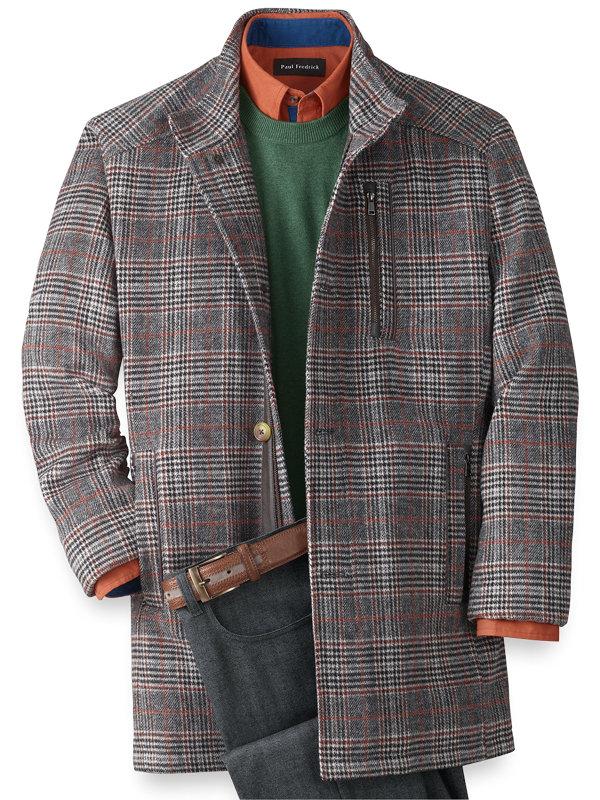 Wool Blend Plaid Car Coat