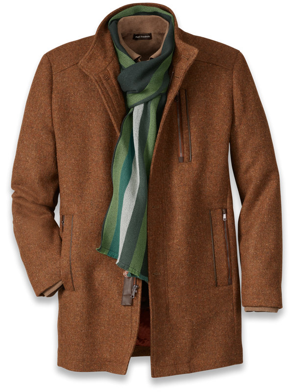 Wool Blend Solid Car Coat