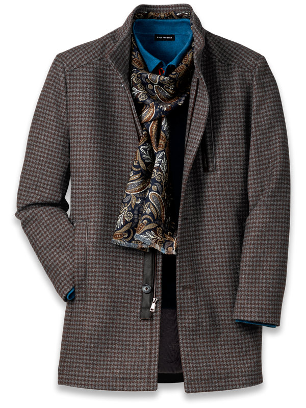 Wool Blend Houndstooth Car Coat